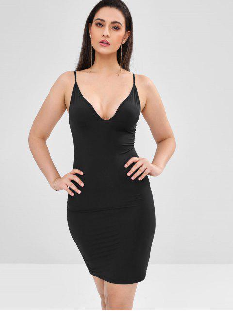 womens Mini Bodycon Slip Dress - BLACK L Mobile