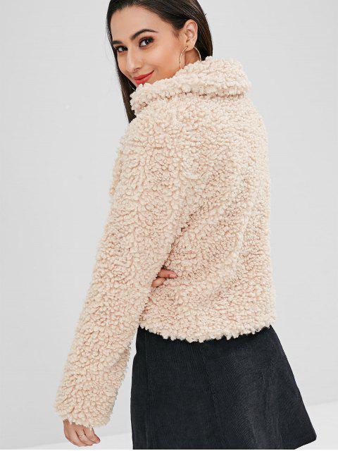 ZAFUL Fluffy Faux Fur Short Winter Teddy Coat - Camel Marrón L Mobile