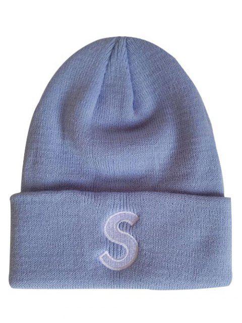 Bonnet Tricoté Lettre S à Rebords - Bleu-gris  Mobile