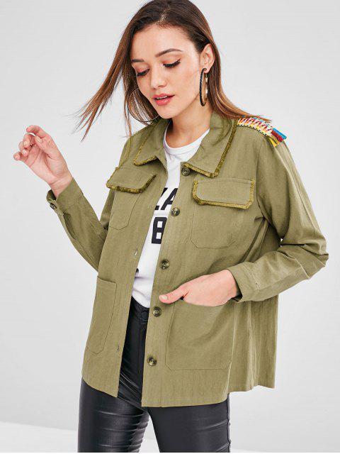 ZAFUL chaqueta de túnica con borde deshilachado de bolsillo - Ejercito Verde S Mobile