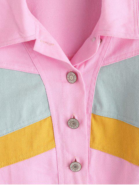 women's ZAFUL Button Up Color Block Jacket - PINK S Mobile