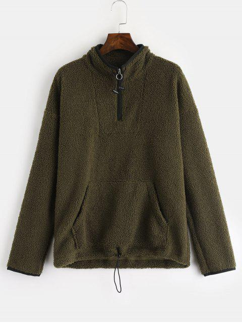 ZAFUL Pocket Zip Front Faux Shearling Sudadera - Ejercito Verde L Mobile