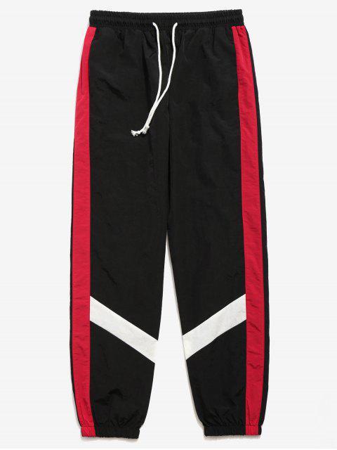 Pantalones Jogger a Rayas de Color Block - Negro L Mobile