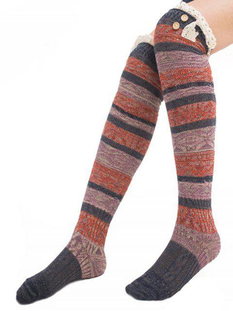 lady Color Block Lace High Knee Socks - MULTI-D  Mobile
