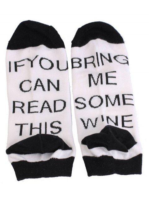 online Stylish Fun Sentences Ankle Socks - WHITE  Mobile