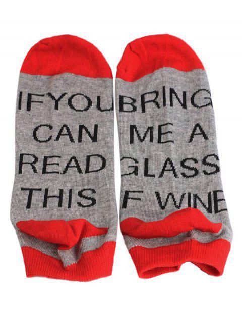 lady Stylish Fun Sentences Ankle Socks - RED  Mobile