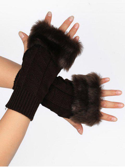 shop Winter Geometric Fingerless Gloves - COFFEE  Mobile