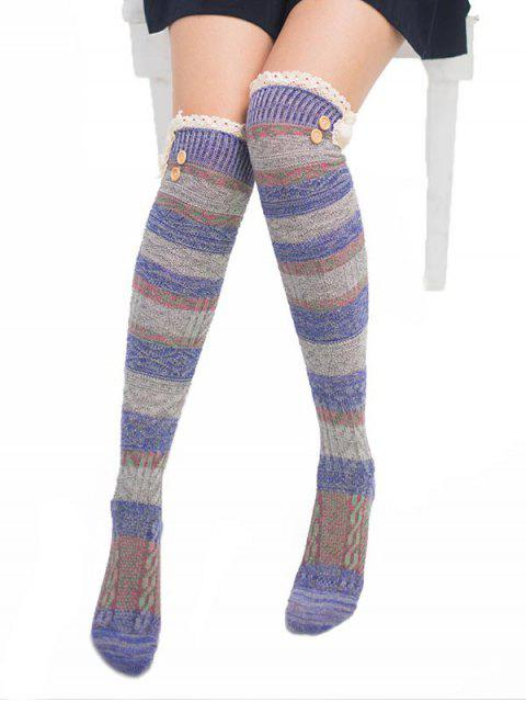outfit Color Block Lace High Knee Socks - MULTI-A  Mobile