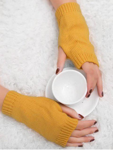shop Vintage Fingerless Knitted Gloves - GOLDEN BROWN  Mobile