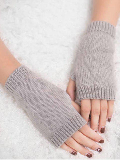 sale Vintage Fingerless Knitted Gloves - LIGHT GRAY  Mobile