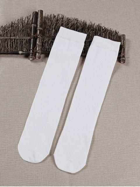 online Solid Color Medium Stockings - WHITE  Mobile