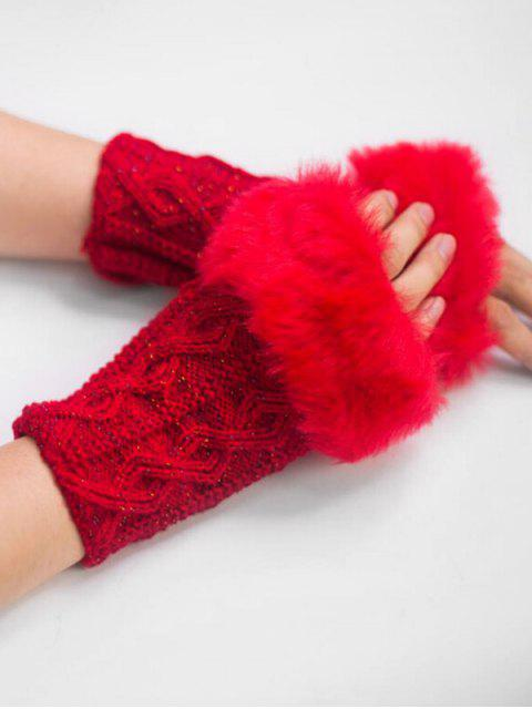 outfit Winter Rhombus Thick Fuzzy Gloves - CHERRY RED  Mobile