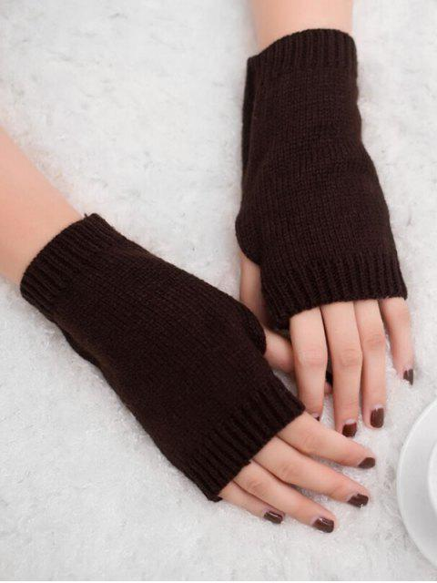 shop Vintage Fingerless Knitted Gloves - COFFEE  Mobile