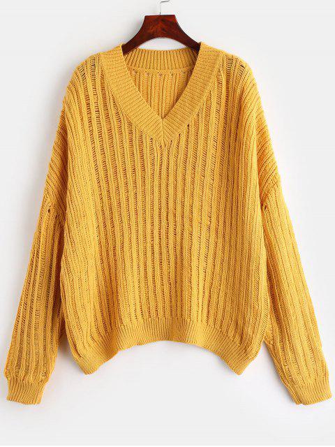Suéter de gran tamaño con cuello en V ZAFUL - Amarillo Brillante Talla única Mobile
