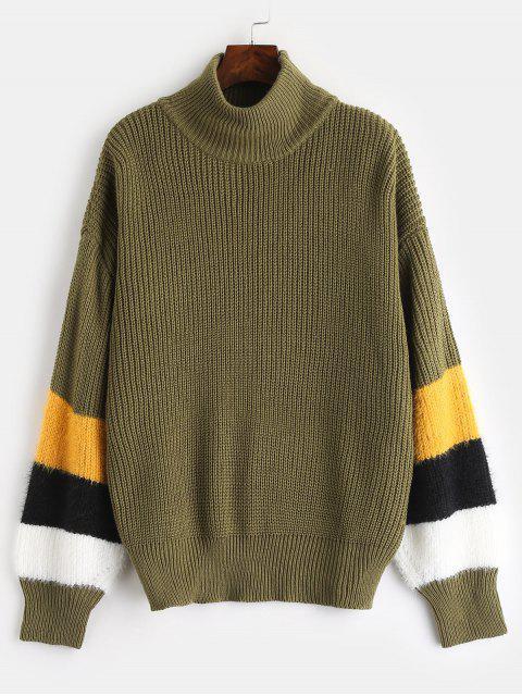 Suéter a rayas de cuello alto de ZAFUL - Verde del ejército Única Talla Mobile