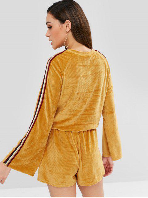 women ZAFUL Corduroy Sweatshirt and Shorts Co Ord Set - MUSTARD L Mobile