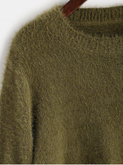 womens ZAFUL Fuzzy Textured Plain Sweater - AVOCADO GREEN ONE SIZE Mobile