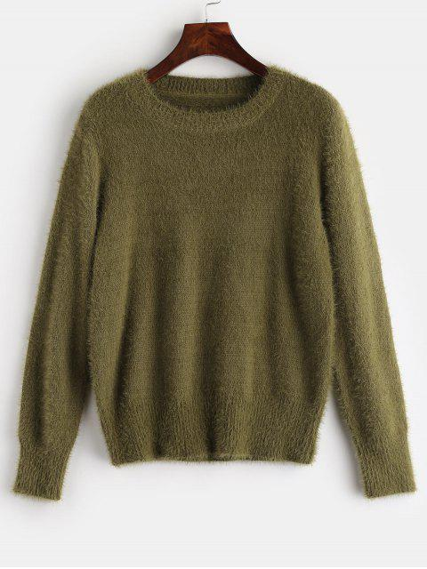 womens ZAFUL Fuzzy Textured Plain Sweater - AVOCADO GREEN ONE SIZE Mobile