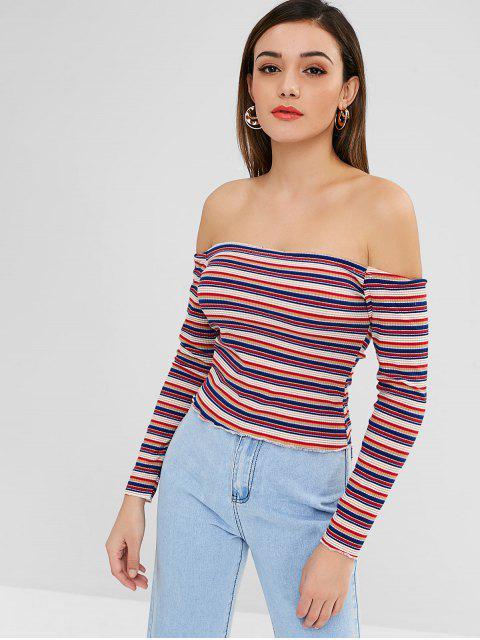 outfits ZAFUL Off Shoulder Striped Crop Knitwear - MULTI L Mobile