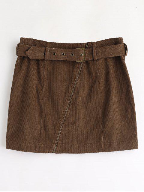 women ZAFUL Corduroy Zip Faux Belt Skirt - DEEP BROWN S Mobile