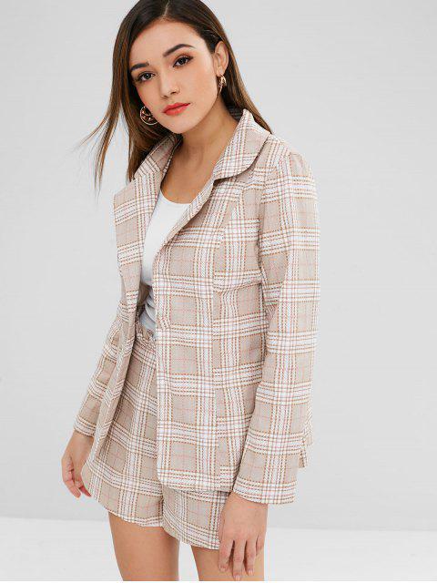outfit ZAFUL One Button Plaid Blazer and Shorts Set - LIGHT KHAKI XL Mobile