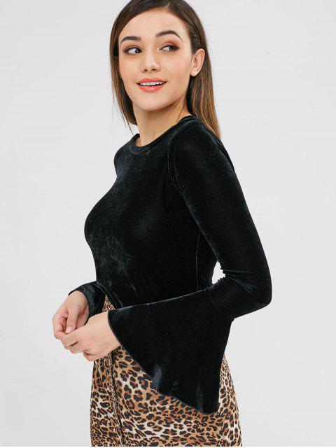 women ZAFUL Bell Sleeve Velvet Tee - BLACK XL Mobile