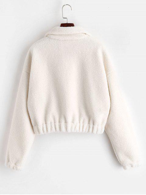 Sweat-shirt Simple à Demi-Zip en Fausse Fourrure - Blanc S Mobile