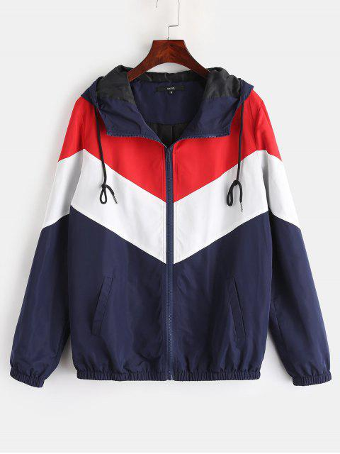 fancy ZAFUL Zip Up Color Block Windbreaker Jacket - MULTI M Mobile