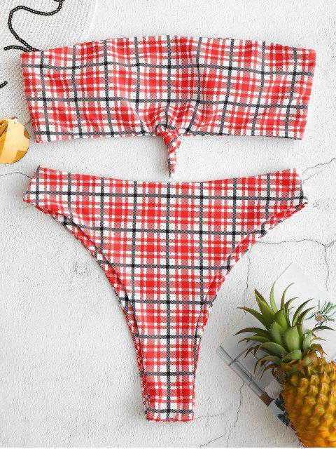 chic ZAFUL Plaid Knotted High Leg Bikini Set - MULTI-A M Mobile
