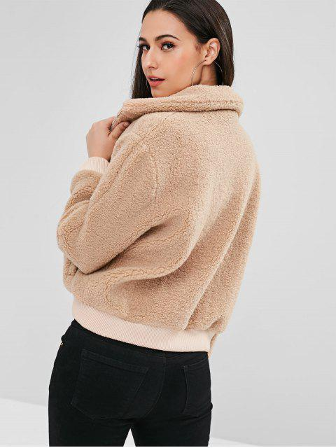 chic ZAFUL Fluffy Faux Shearling Winter Coat - CAMEL BROWN L Mobile