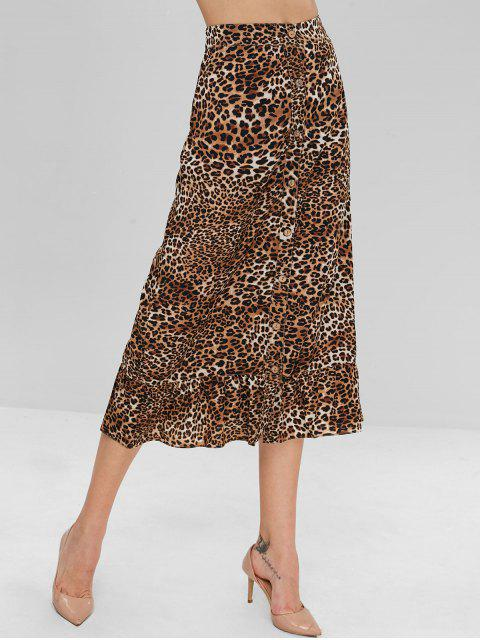 affordable ZAFUL Button Up Ruffles Leopard Skirt - LEOPARD L Mobile
