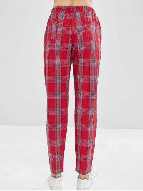 Pantalones rectos de tartán de cintura alta ZAFUL - Vino Tinto M Mobile