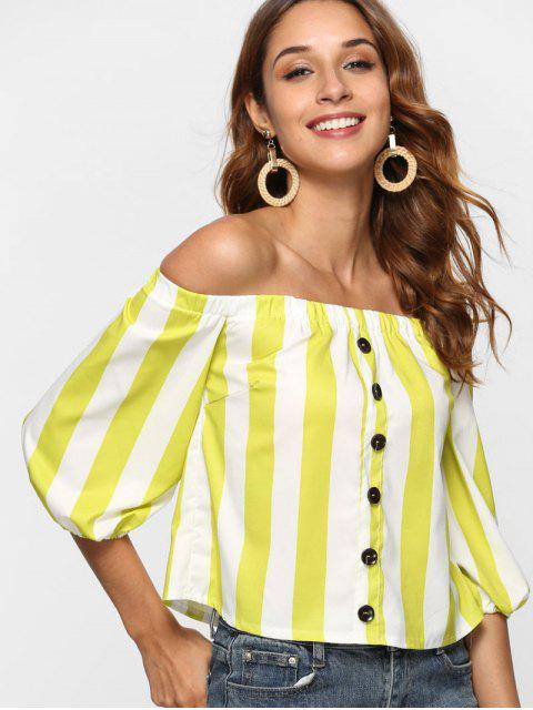outfits Off The Shoulder Vertical Striped Top - MULTI M Mobile