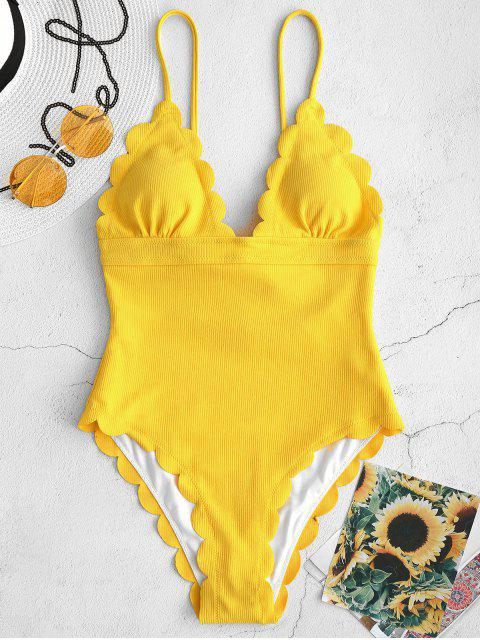 best ZAFUL Ribbed Scalloped Backless Swimsuit - YELLOW S Mobile