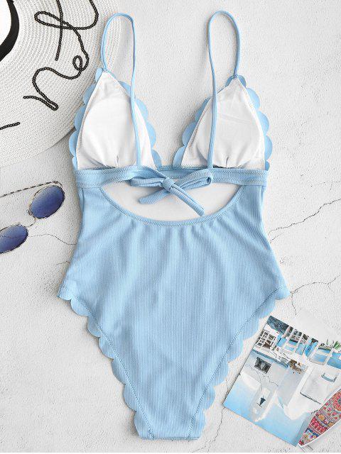 ZAFUL traje de baño sin espalda festoneado festoneado - Celeste Ligero S Mobile