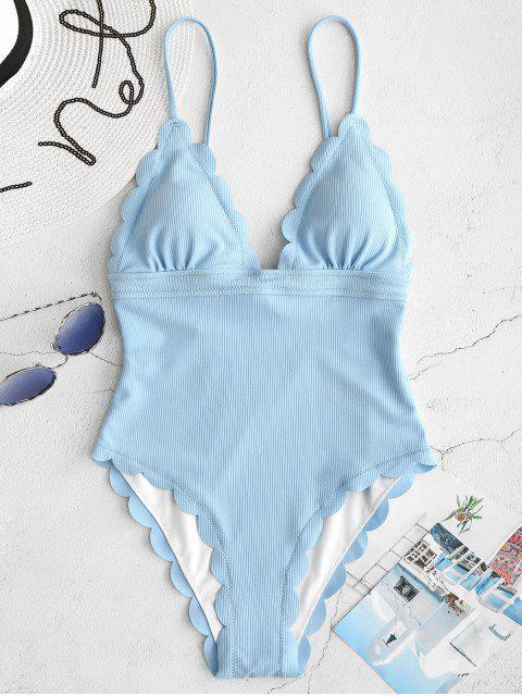 ZAFUL traje de baño sin espalda festoneado festoneado - Celeste Ligero M Mobile
