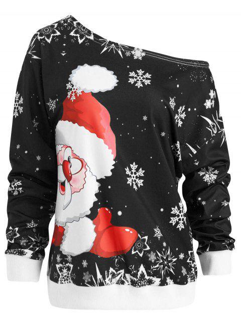 Skew Neck Christmas Santa Claus Print Sweatshirt - 黑色 L Mobile