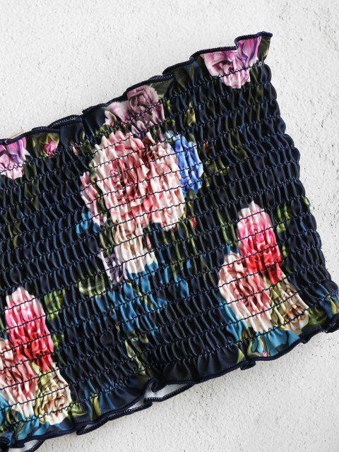 chic ZAFUL Floral Smocked Bandeau Bikini Set - OCEAN BLUE M Mobile