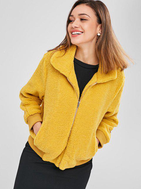 latest ZAFUL Fluffy Faux Shearling Winter Coat - MUSTARD S Mobile