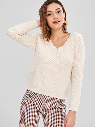 c935425b67 V Neck Raglan Sleeves Sweater - Cornsilk