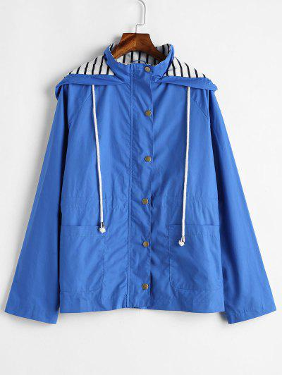 Stripes Panel Snap Button Hooded Jacket - Ocean Blue S
