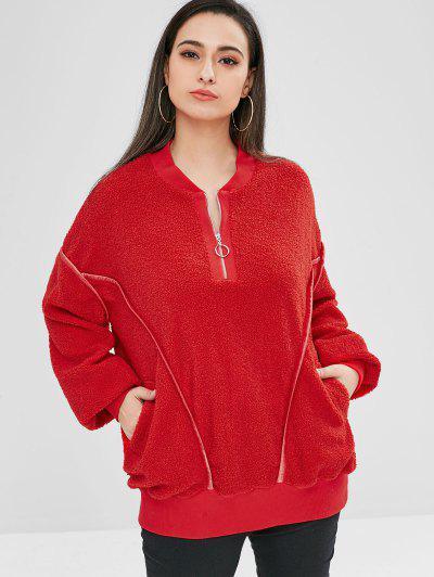 ZAFUL Oversized Fluffy Borg Pullover Sweatshirt - Red L