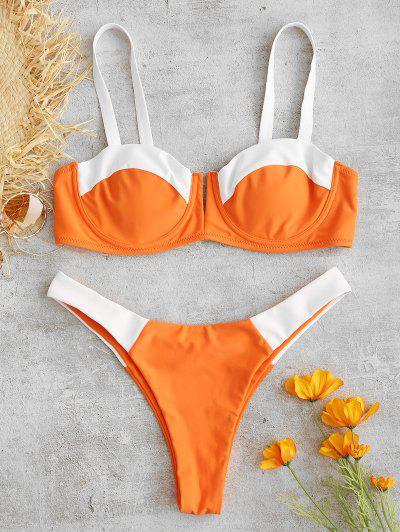 74371e928f ZAFUL Two Tone Underwire Balconette Bikini Set - Halloween Orange L