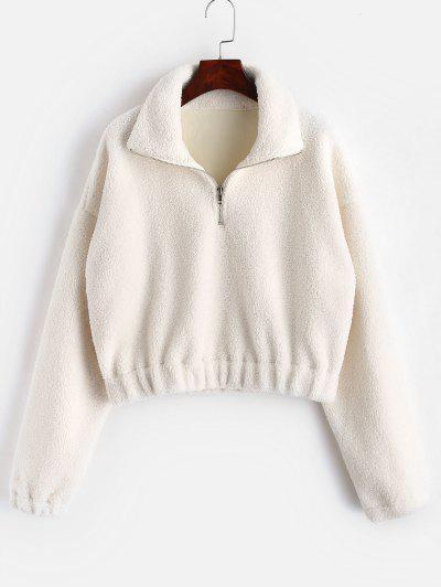 Half Zip Plain Faux Fur Sweatshirt - White L