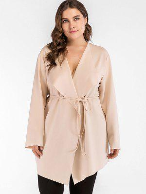 Belted Cascading Plus Size Trenchcoat