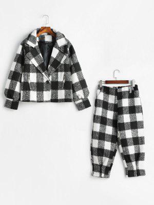 Plaid Wool Blend Coat And Pants Set - Black L
