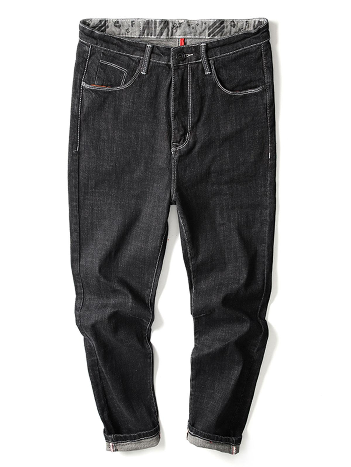 Solid Zip Fly Cuffed Jeans thumbnail