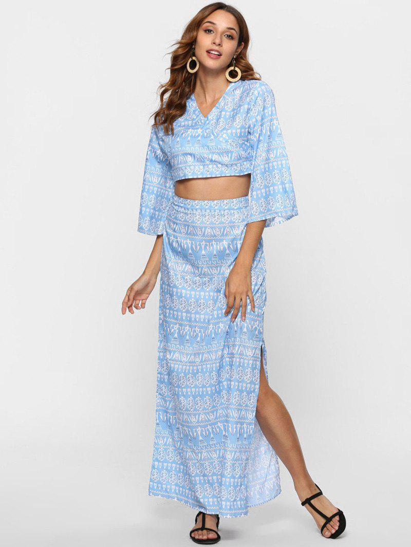 Crossover Crop Top and Maxi Skirt Co Ord Set