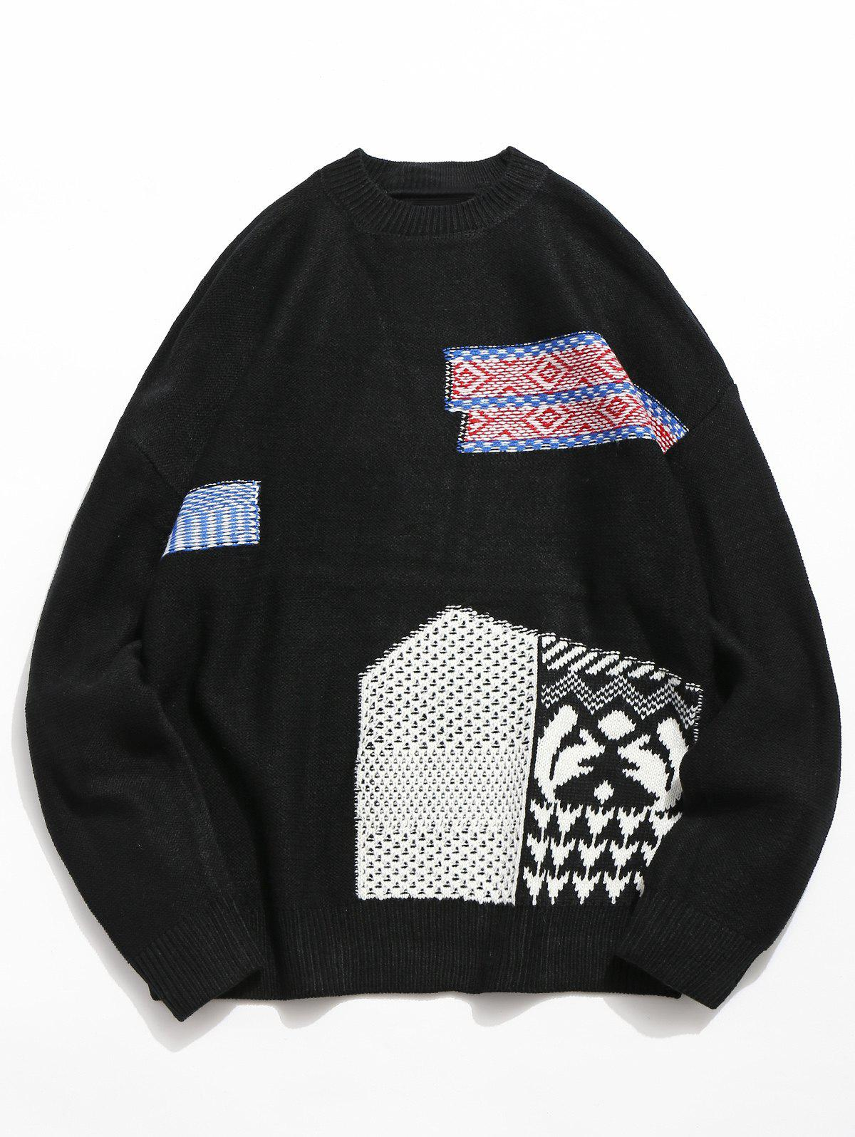 Geometric Pattern Pullover Knitted Sweater, Black