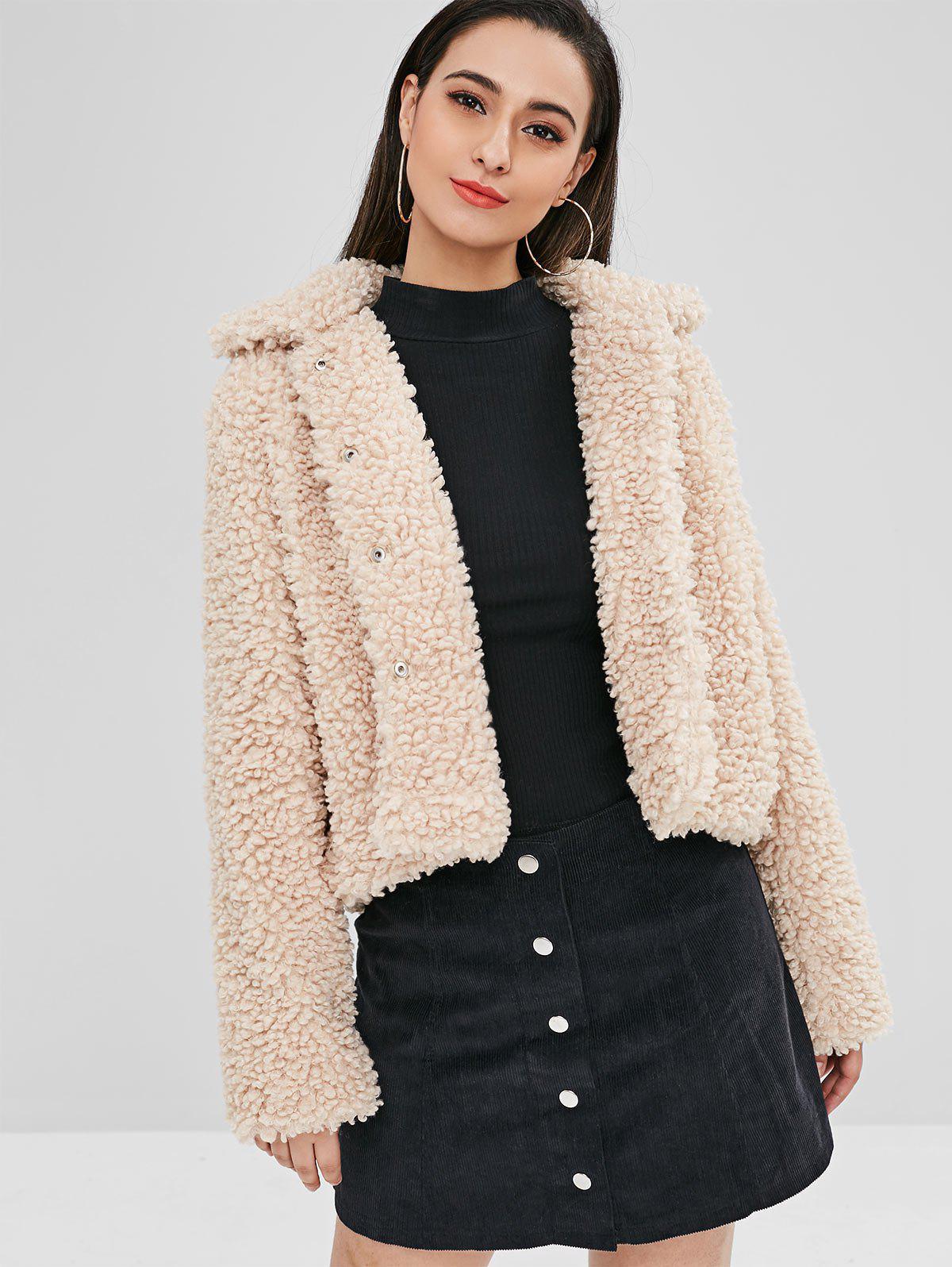 ZAFUL Fluffy Faux Fur Short Winter Teddy Coat